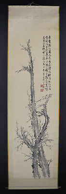"""JAPANESE HANGING SCROLL ART Painting """"Plum blossoms"""" Asian antique  #E8951"""