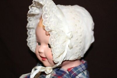 Antique Baby Or Doll Bonnet Creamy Ivory Color With Silk Ties Vintage #2