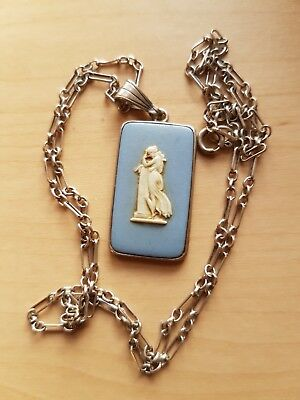 Wedgwood Jasperware.  Oblong pendant on silver chain