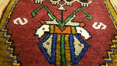 "Exclsuive1'3""×2'10"" Antique Tribal Wool Pile Cushion Cover Rug Turkey"