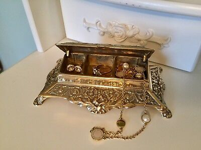 Antique Victorian Solid Brass Desk Stamps/Trinket Box - Dressing Table Box