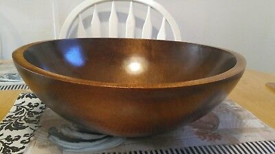 large vintage 13 by 12 and 7/16 wooden dough Bowl
