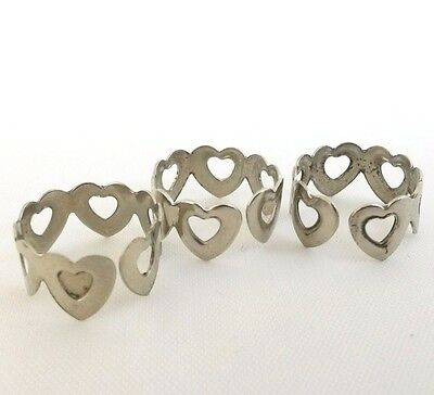Lot of 3 Hearts Silver Tone Band Cuff Ring Adjustable Stamped Metal Size 6.5