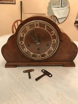 Art Deco WESTMINSTER CHIME WOOD MANTLE CLOCK COMPLETE WITH KEY
