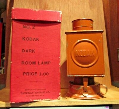 Ant KODAK Safe-Light Darkroom Kerosene Lamp W/Red & Amber Glass Filter With Box