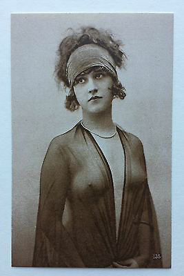 Vintage postcard - French - Erotic - Female - 1920´s glamour girl - semi-nude