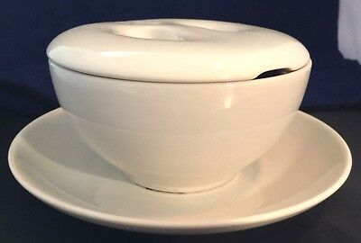 """Russel Wright Iroquois Casual China White Covered 5 1/4"""" Round Bowl & Underplate"""