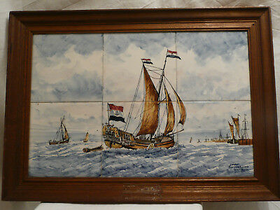 Ancient Delfts Polychrome Holland Hand Painted Sailing Ship 6 tiles