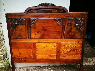 Kingsize 5ft ANTIQUE FRENCH ART DECO Mahogany and Walnut Headboard