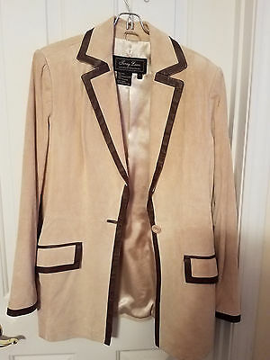 Terry Lewis Women's Tan Chocolate Suede Pantsuit Suit 100% Leather XS 6