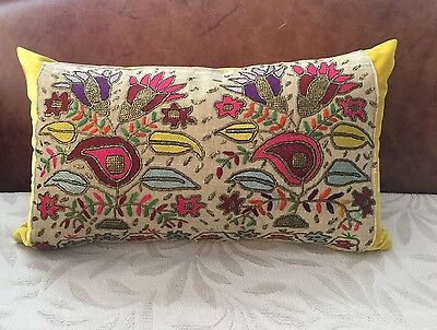 LOVELY VELVET PILLOW CASE  WITH 19th century ANTIQUE TURKISH HAND EMBROIDERY
