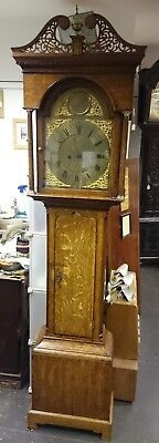 8 Day Brass Face, Oak Case Longcase  Clock William Robson North Shields GWO