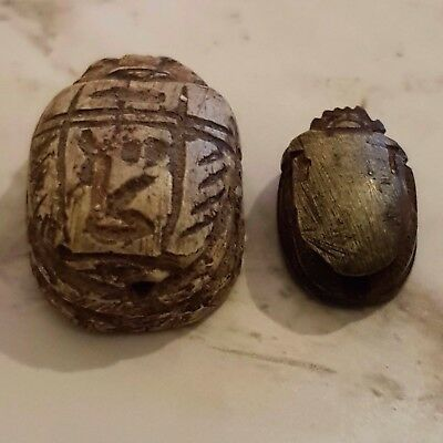 Rare Ancient Egyptian Authentic Carved Scarab Bead Seal Beetles Hole Drilled Old