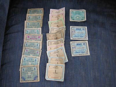 22 Military Currency notes Germany Italy France Japan