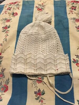 Georgian Babies Nightcap . Hand Knitted . Early 19 Th Century.