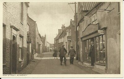 Vintage locally published postcard of Post Office & High Street, Blakeney, Norfo