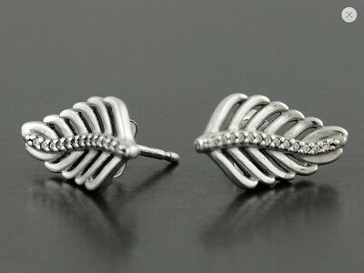 Genuine Pandora Silver Shimmering Feathers Earrings - 290582CZ Free Pouch
