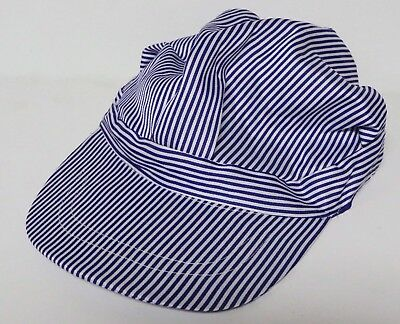 Engineer Hat Blue & White Striped Train Conductor Cap Adjustable New