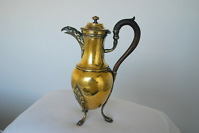 Vintage FRENCH ? Gilded metal tripod feet coffee pot with eagle spout