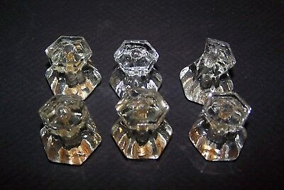 Six (6) Antique Glass Cabinet Knobs.