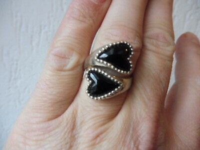 Beautiful, Old RING__925 Silver __ with 2 Black Heart __