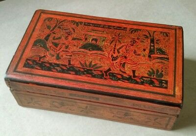 Tactile Elaborate Hand Painted Inscribed Vintage Burmese Yun-De Lacquerware Box.