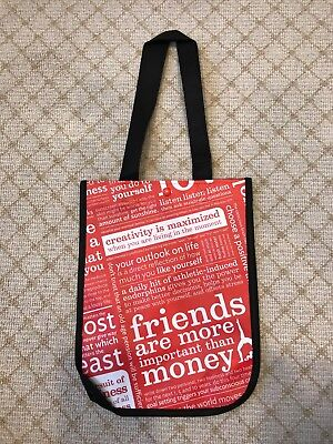 """NEW Lululemon Small Manifesto Red Reusable Shopping Tote Lunch Bag 12"""" X 9"""" X 4"""""""