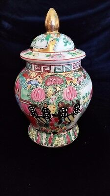 Vintage Chinese Export Rose Medallion Hand Painted Ginger Jar w/Lid