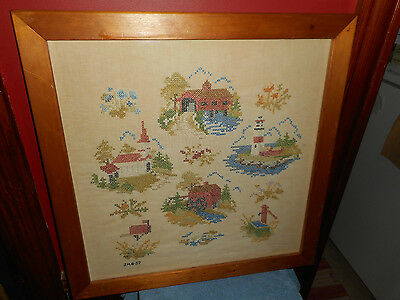 New England Sampler Framed Patchwork Initialed & Dated 1952 Lighthouse Church