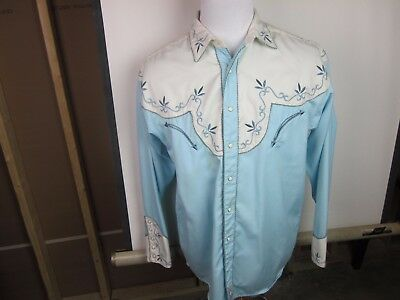 Retro Panhandle Slim Men's LS Western Shirt Large Blue/White w Design