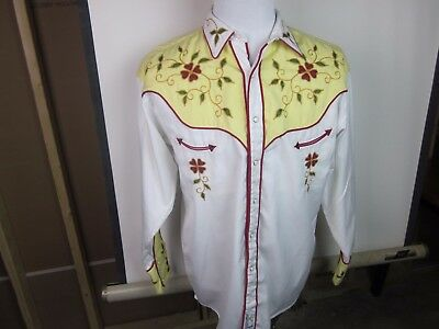 Retro Panhandle Slim Men's LS Western Shirt Large White/Yellow w Design