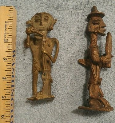 Antique African Ashanti Tribal Lost Wax Sand Cast Bronze Statue Figures 2 lot