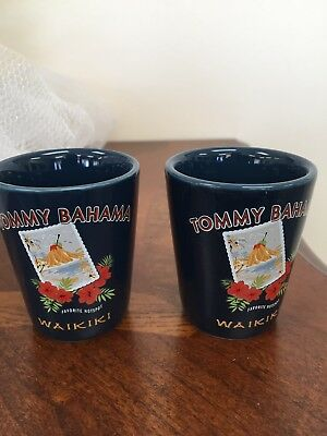Tommy Bahama shot glasses navy ceramic with Tommy Bahama Waikiki  picture qty 2