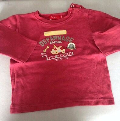 Tee shirt  rouge manches longues taille 18 mois