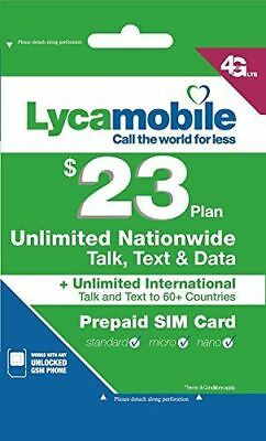 Lycamobile $23 Plan 1st Month Included SIM Card is Triple Cut Unlimited Natl Tal