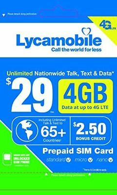 Lycamobile $29 Plan 1st Month Included SIM Card is Triple Cut Unlimited Natl Tal