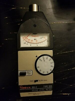 Simpson 884-2 SOUND Meter with case works perfectly