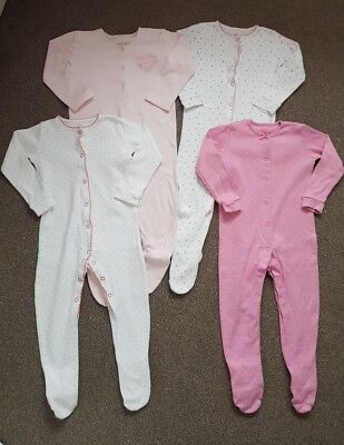 F & F/George 4 x Girls All in One Spotted/I Love Mummy Sleepsuits Pyjamas 12-18