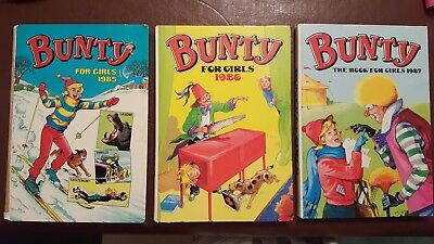Vintage Bunty for Girls X3 Annuals 1985 1986 & 1987