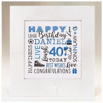 Personalised Birthday Card Son In Law 21st 25th 30th 35th 40th 45th 50th 60th