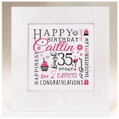 Personalised Birthday Card Daughter In Law 21st 25th 30th 35th 40th 50th 60th