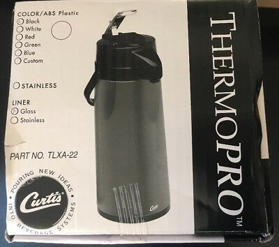 Wilbur Curtis Thermal Air Pot Airpot Hot Beverage Lever Dispenser - 2.2L Black