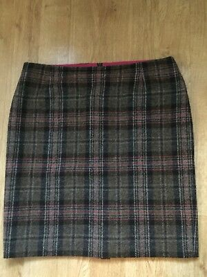 Lovely Boden TWEED BY MOON Check wool skirt lined 16