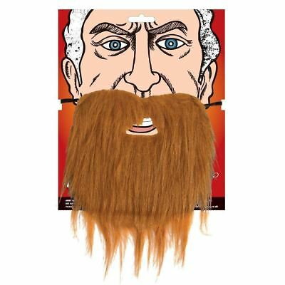 Brown Long Fake Beard Fancy Dress Facial Hair Costume Accessory Halloween Old