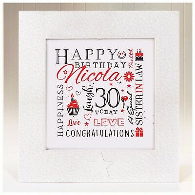 Personalised Birthday Card Sister In Law 21st 25th 30th 35th 40th 50th 60th 70th