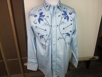 "Retro Panhandle Slim  Men's LS Western Shirt Large ""The Blue Raider"" NEW"