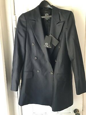 McQ Alexander McQueen Womens Double Breasted Blazer Suit Jacket Navy Blue Size 4