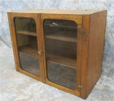 Wood Cabinet Glass Doors Showcase Display Pantry Cupboard Country Store Vintage