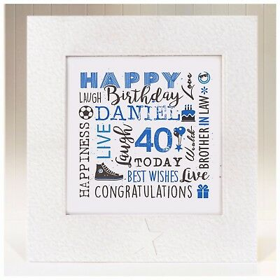 Personalised Birthday Card Brother In Law 21st 25th 30th 35th 40th