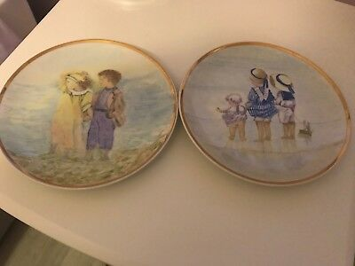 2 X HAND Painted Decorative Wall Plates - Victorian Seaside Scenes ...